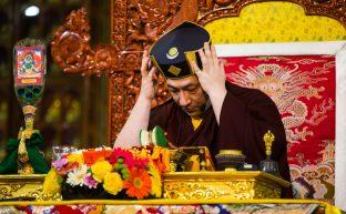 Thaye Dorje, His Holiness the 17th Gyalwa Karmapa, during the Green Tara empowerment at the Karmapa Public Course at KIBI. Photo / Norbu Zangpo