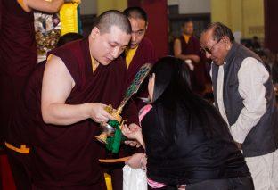 Thaye Dorje, His Holiness the 17th Gyalwa Karmapa, and Sangyumla, during the Green Tara empowerment at the Karmapa Public Course at KIBI. Photo / Norbu Zangpo
