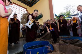 Traditional life release at the Karmapa International Buddhist Institute