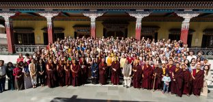 Thaye Dorje, His Holiness the 17th Gyalwa Karmapa, with teachers and students of the KIBI Public Course