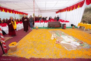 Karmapa took part in a symbolic groundbreaking ceremony for the new monastery Karma Karsal Ling
