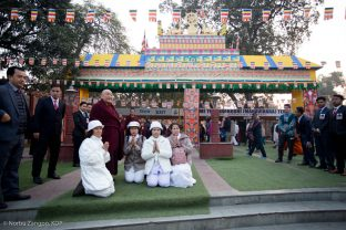 Day one of the Kagyu Monlam, Bodh Gaya, December 2018. His Eminence Beru Khyentse Rinpoche awaits the arrival of Thaye Dorje, His Holiness the 17th Gyalwa Karmapa
