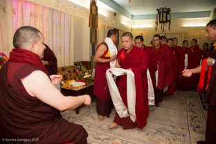 Many groups have an audience with Thaye Dorje, His Holiness the 17th Gyalwa Karmapa, at the Kagyu Monlam in Bodh Gaya, December 2018.