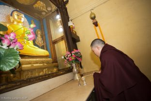 Thaye Dorje, His Holiness the 17th Gyalwa Karmapa, pays respect to the statue of the historical Buddha at the Kagyu Monlam in Bodh Gaya