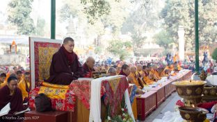 Thaye Dorje, His Holiness the 17th Gyalwa Karmapa, leads prayers at the Kagyu Monlam, Bodh Gaya, December 2018