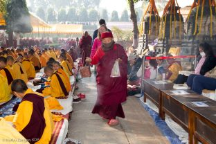 Day one of the Kagyu Monlam, Bodh Gaya, December 2018