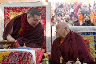 Thaye Dorje, His Holiness the 17th Gyalwa Karmapa with His Eminence Beru Khyentse Rinpoche at the Kagyu Monlam 2018