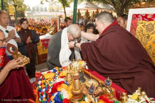 Thaye Dorje, His Holiness the 17th Gyalwa Karmapa, at the Kagyu Monlam in Bodh Gaya