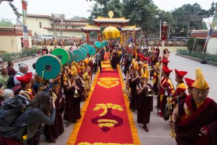 Thaye Dorje, His Holiness the 17th Gyalwa Karmapa, arrives for the Kagyu Monlam 2019. (Photo/Norbu Zangpo)