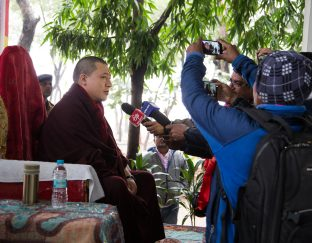 Thaye Dorje, His Holiness the 17th Gyalwa Karmapa, visits the Bodhi Tree School in Bodh Gaya, India, in December 2019 (Photo/Norbu Zangpo)