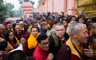 Thaye Dorje, His Holiness the 17th Gyalwa Karmapa, presides over prayers on the opening day of the Kagyu Monlam in Bodh Gaya, India, in December 2019 (Photo/Norbu Zangpo)