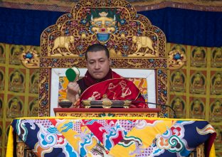 Thaye Dorje, His Holiness the 17th Gyalwa Karmapa, gives a Chenresig empowerment at Karma Temple, Bodh Gaya, India, December 2019. Photo / Norbu Zangpo