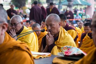 Thaye Dorje, His Holiness the 17th Gyalwa Karmapa, presides over aspiration prayers on the final day of the 2019 Kagyu Monlam, Bodh Gaya, India. Photo / Norbu Zangpo