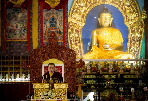 Thaye Dorje, His Holiness the 17th Gyalwa Karmapa, leading a previous Karmapa Public Course at KIBI