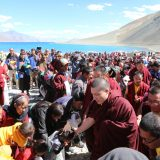 Thaye Dorje, His Holiness the 17th Gyalwa Karmapa, blesses devotees at Pangong Lake. Photo / Magda Jungowska