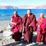 Thaye Dorje, His Holiness the 17th Gyalwa Karmapa, with high lamas at Pangong Lake. Photo / Magda Jungowska