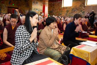 Thaye Dorje, His Holiness the 17th Gyalwa Karmapa, Sangyumla and Thugseyla at Dhagpo Kundreul Ling in Le Bost, France