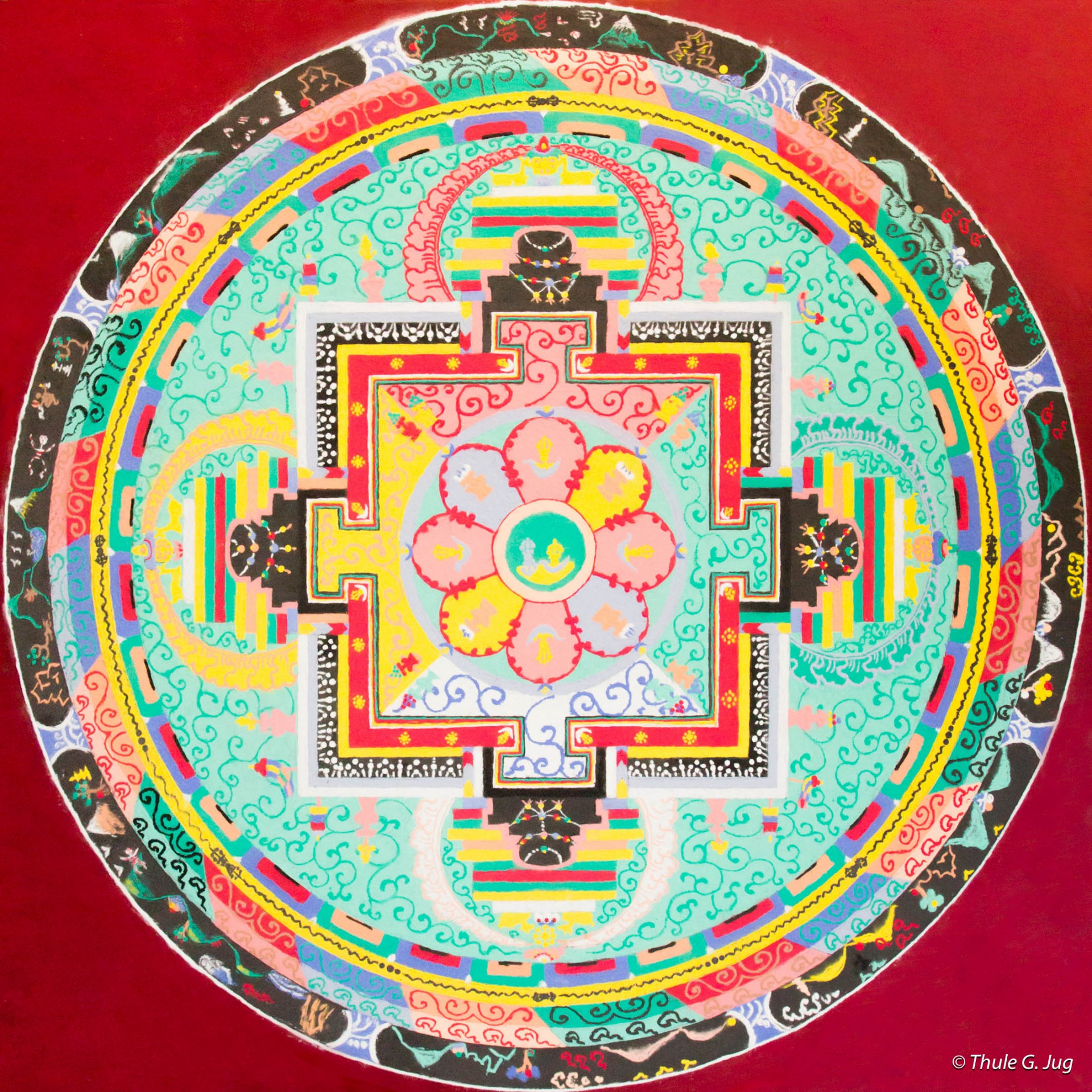 The completed sand mandala of Chakrasamvara