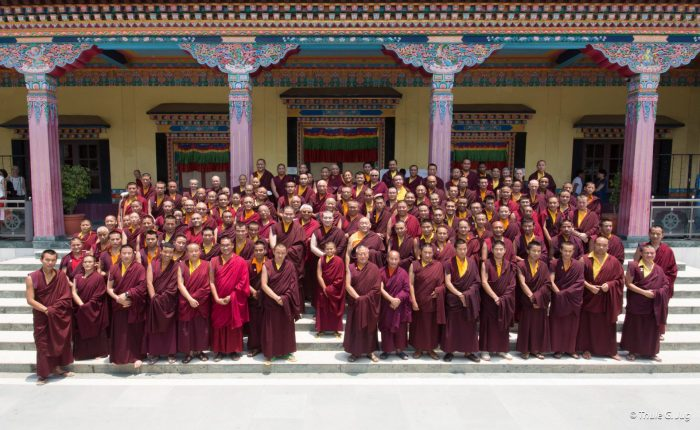 Many Rinpoches, lamas, and ordained practitioners attended the ceremonies led by Thaye Dorje, His Holiness the 17th Gyalwa Karmapa
