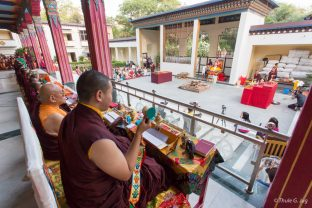 Thaye Dorje, His Holiness the 17th Gyalwa Karmapa, leads the Chakrasamvara fire puja, with other Karma Kagyu lamas