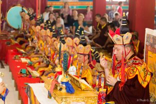 Thaye Dorje, His Holiness the 17th Gyalwa Karmapa, leads the final Chakrasamvara puja