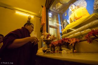 Thaye Dorje, His Holiness the 17th Gyalwa Karmapa, pays respects to the Buddha at the Kagyu Monlam in Bodh Gaya, December 2017