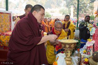 Thaye Dorje, His Holiness the 17th Gyalwa Karmapa, at the Kagyu Monlam in Bodh Gaya, December 2017