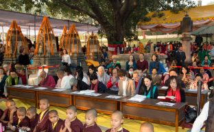 Buddhist monks, teaches and students at the Kagyu Monlam in Bodh Gaya 2017, led by Thaye Dorje, His Holiness the 17th Gyalwa Karmapa