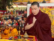 Thaye Dorje, His Holiness the 17th Gyalwa Karmapa, at the Kagyu Monlam in Bodh Gaya, December 2017