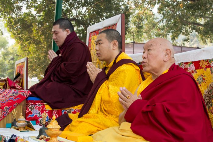 Thaye Dorje, His Holiness the 17th Gyalwa Karmapa, Jamgon Kongtrul Rinpoche, and Beru Khyentse Rinpoche at the Kagyu Monlam in Bodh Gaya, December 2017