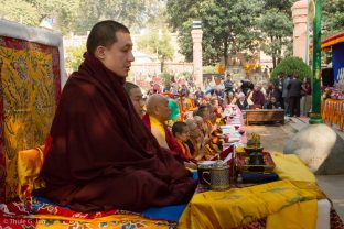 Thaye Dorje, His Holiness the 17th Gyalwa Karmapa, Jamgon Kongtrul Rinpoche, and Beru Khyentse Rinpoche at the Kagyu Monlam in Bodh Gaya, December 2017