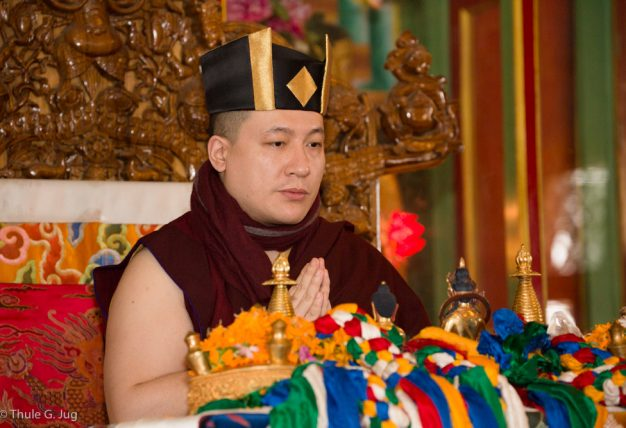 Thaye Dorje, His Holiness the 17th Gyalwa Karmapa, enthrones two tulkus (reincarnated masters) at the Kagyu Monlam in Bodh Gaya, December 2017