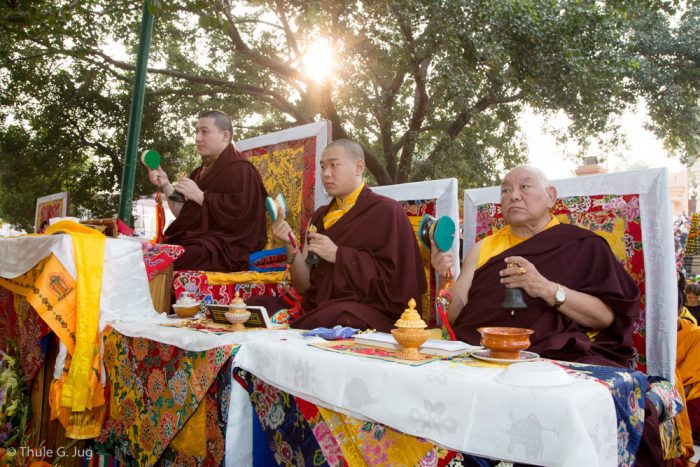 Left to right: Thaye Dorje, His Holiness the 17th Gyalwa Karmapa, His Eminence Jamgon Kongtrul Rinpoche, and His Eminence Beru Khyentse Rinpoche at the Kagyu Monlam in Bodh Gaya, December 2017
