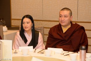 Thaye Dorje, His Holiness the 17th Gyalwa Karmapa and his wife Sangyumla Rinchen Yangzom have lunch with sponsors of the event in Hong Kong