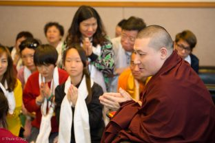 Two groups of students meet Thaye Dorje, His Holiness the 17th Gyalwa Karmapa, before the Chenresig empowerment