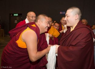 Many Rinpoches and lamas were present with Thaye Dorje, His Holiness the 17th Gyalwa Karmapa