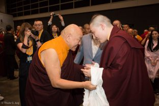 His Eminence Beru Khyentse Rinpoche greets Thaye Dorje, His Holiness the 17th Gyalwa Karmapa