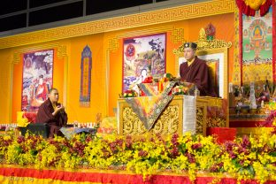 His Eminence 4th Jamgon Kongtrul Rinpoche offers a mandala during the Chenresig empowerment given by Thaye Dorje, His Holiness the 17th Gyalwa Karmapa, to around 2,000 people in Hong Kong