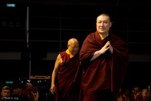 Thaye Dorje, His Holiness the 17th Gyalwa Karmapa, attends a Mahakala puja in Hong Kong