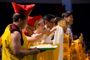 Symbolic offerings made during the puja for the deceased, led by Thaye Dorje, His Holiness the 17th Gyalwa Karmapa