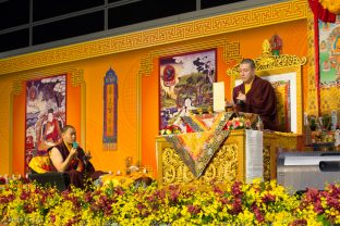 Thaye Dorje, His Holiness the 17th Gyalwa Karmapa, leads a puja for the deceased, Hong Kong. His Eminence 4th Jamgon Kongtrul Rinpoche, Karma Mingyur Dragpa Senge, assists (left).