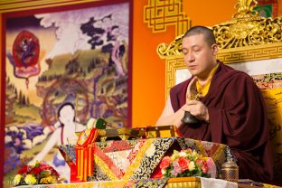 Thaye Dorje, His Holiness the 17th Gyalwa Karmapa, leads a puja for the deceased, Hong Kong
