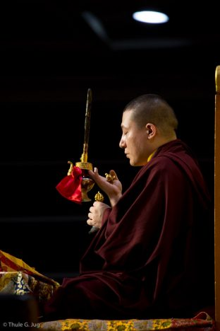Thaye Dorje, His Holiness the 17th Gyalwa Karmapa, leads a puja for the deceased, in Hong Kong