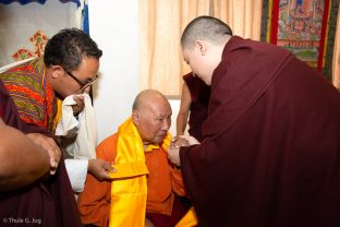 Thaye Dorje, His Holiness the 17th Gyalwa Karmapa, visits the Bodhi Path Tara Buddhist Centre of Lama Jakarla in Hong Kong