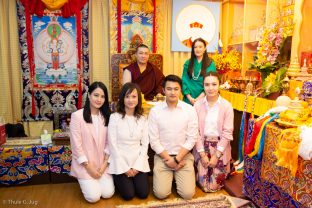 Thaye Dorje, His Holiness the 17th Gyalwa Karmapa, visits Khenpo Karsang's Kagyu Library in Hong Kong. Here, Karmapa is pictured with his wife Sangyumla Rinchen Yangzom, members of her family, and a generous sponsor of Karmapa's vast activities