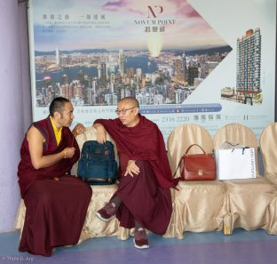Nendo Tenam Rinpoche and Venerable Shangpa Rinpoche during the fish release ceremony