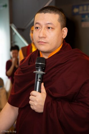 Thaye Dorje, His Holiness the 17th Gyalwa Karmapa, gives a speech at a traditional fish release ceremony in Hong Kong