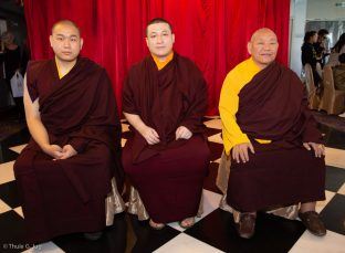 Left to right: HIs Eminence 4th Jamgon Kongtrul Rinpoche, Thaye Dorje, His Holiness the 17th Gyalwa Karmapa, and HIs Eminence Beru Khyentse Rinpoche, at a traditional fish release ceremony in Hong Kong