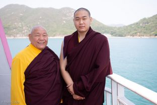 His Eminence 4th Jamgon Kongtrul Rinpoche, Karma Mingyur Dragpa Senge (right), with his father His Eminence Beru Khyentse Rinpoche (left)