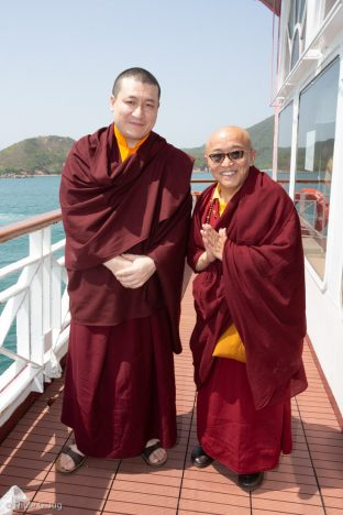 Thaye Dorje, His Holiness the 17th Gyalwa Karmapa, and Venerable Sang Sang Rinpoche at the fish release ceremony in Hong Kong